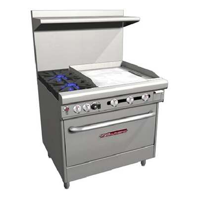 "Southbend H4361A-2GR 36"" 2-Burner Gas Range with Griddle, LP"