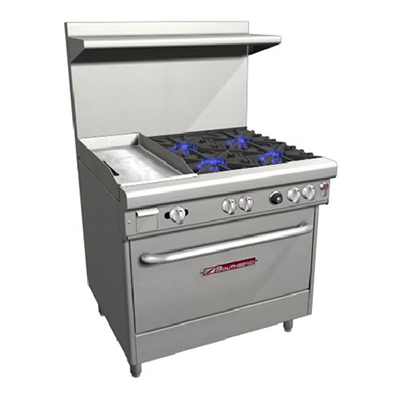 "Southbend H4361D-1G 36"" 4-Burner Gas Range with Griddle, LP"