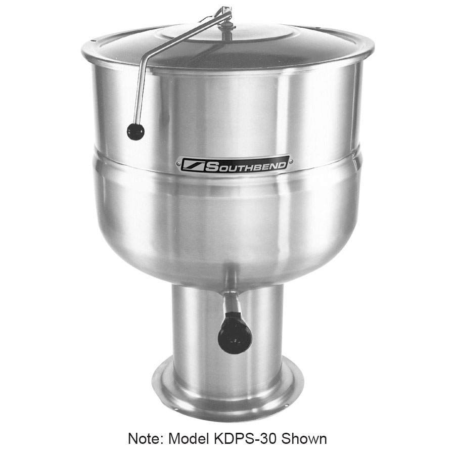 Southbend KDPS-100 100-gal Stationary Kettle, Pedestal, Hinged Cover, 2/3-Jacket