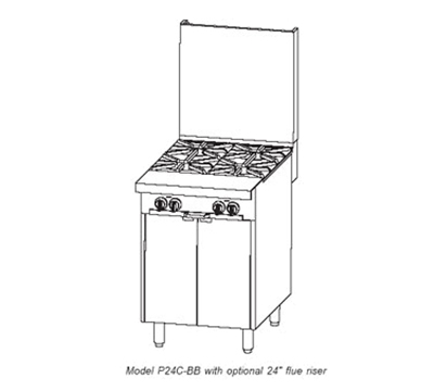 "Southbend P24N-BB 24"" 4-Burner Gas Range, LP"