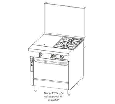 "Southbend P32N-XH 32"" 2-Burner Gas Range with Hot Top, NG"