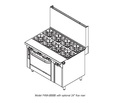 "Southbend P48A-BBBB-SU 48"" 8-Burner Gas Range, Step-up, LP"