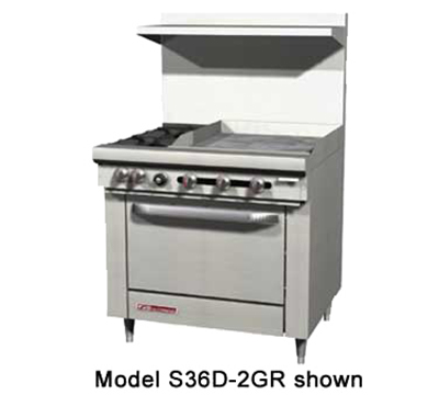 "Southbend S36D-2G 36"" 2-Burner Gas Range with Griddle, NG"