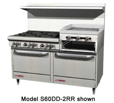"Southbend S60AD-2RR 60"" 6-Burner Gas Range with Griddle & Broiler, NG"