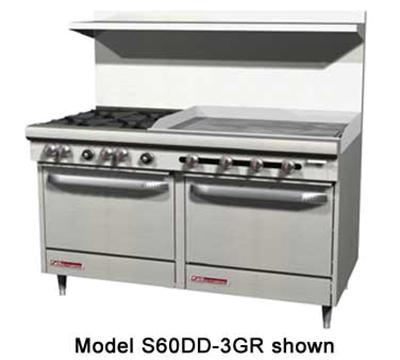 """Southbend S60AD-4T 60"""" 2-Burner Gas Range with Griddle, LP"""