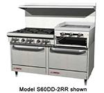 """Southbend S60DD-2RR 60"""" 6-Burner Gas Range with Griddle & Broiler, NG"""