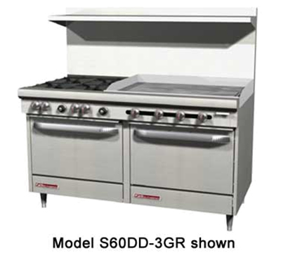 "Southbend S60DD-3G 60"" 4-Burner Gas Range with Griddle, LP"