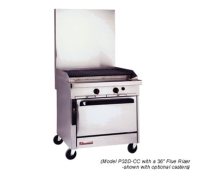 Southbend P32N-GC NG 32-in Sectional Range w/ Griddle Top, Stainless Radiant Charbroiler, Manual, NG P32N-GC NG