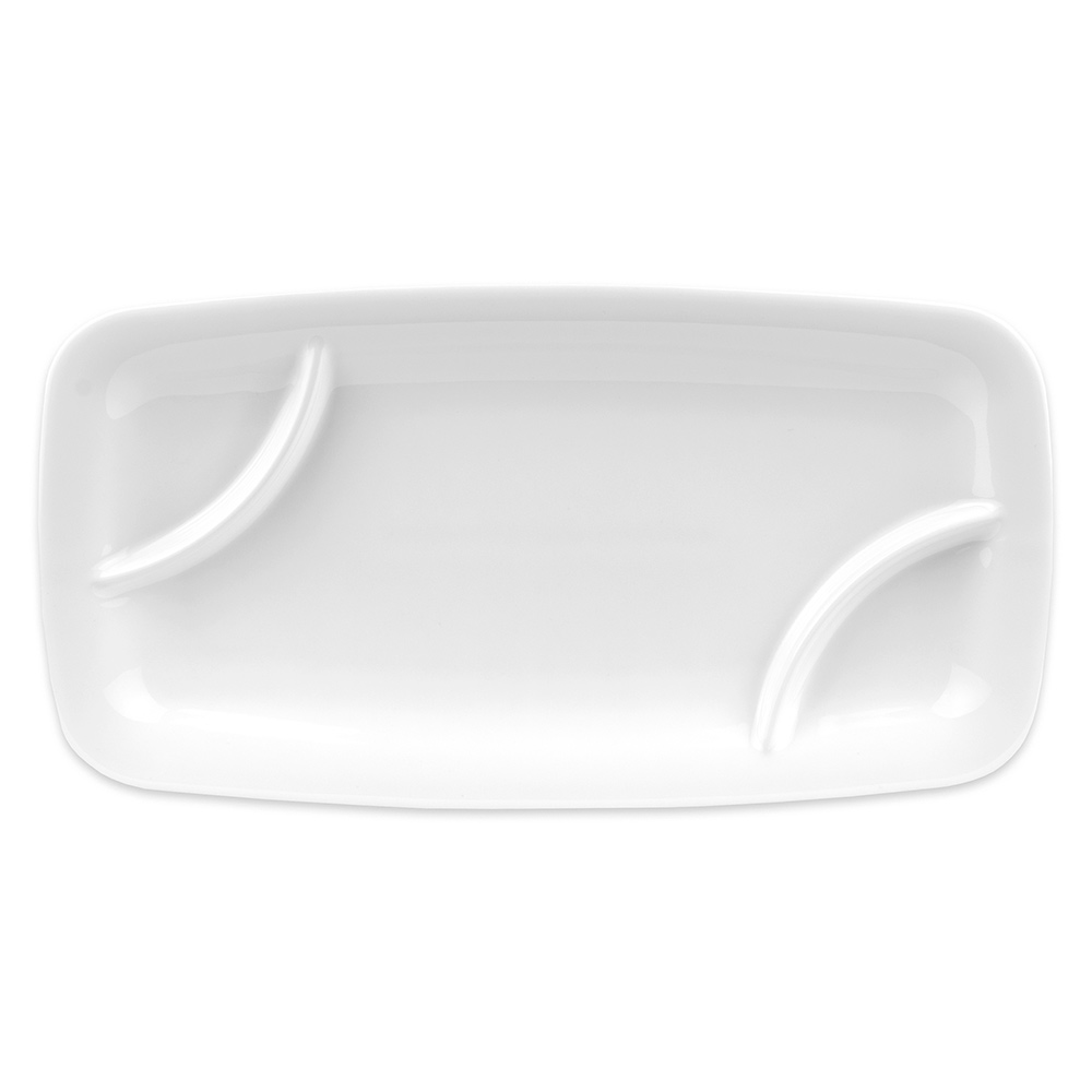 Hall China 44960ABWA Rectangular Double Divided Tray w/ (3) Compartments, White