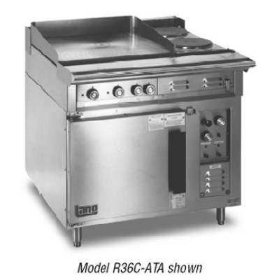 Lang R36CATC4803 36 in Range 2 Burner 2 Hot Plates Convection Oven Base 3 Racks 480V/3ph Restaurant Supply
