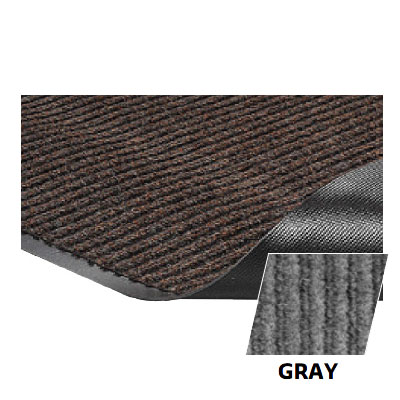 Crown NR0034G Needle Rib Wiper Scraper Mat, 3 x 4-ft, 5/16-in Thick, Gray