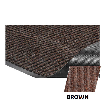 Crown NR0046BR Needle Rib Wiper Scraper Mat, 4 x 6-ft, 5/16-in Thick, Brown