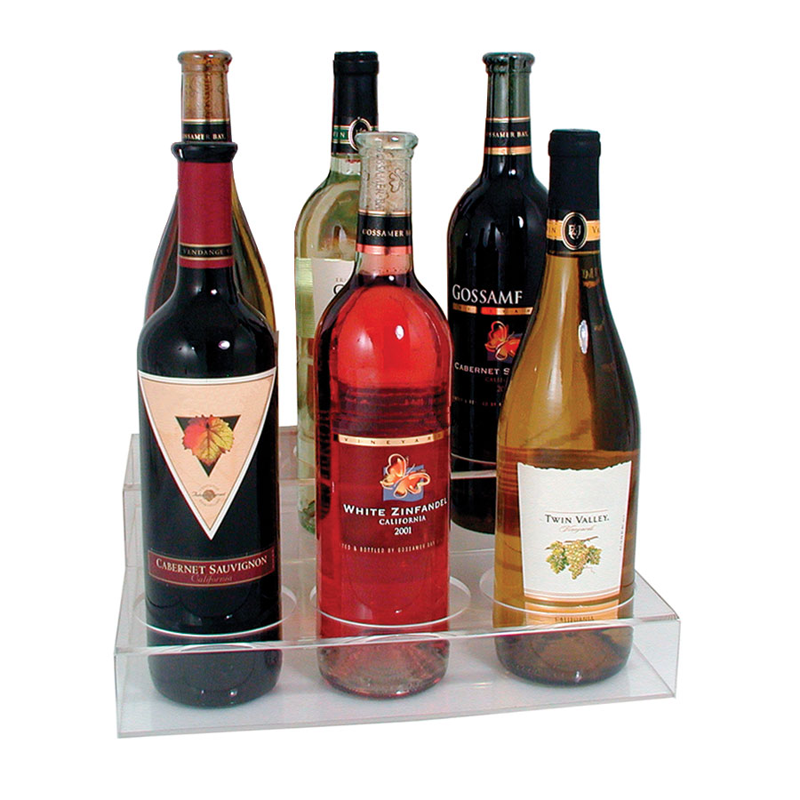 Update International ABO-3X2 2-Tier Wine Bottle Display - (6)Bottle, Acrylic