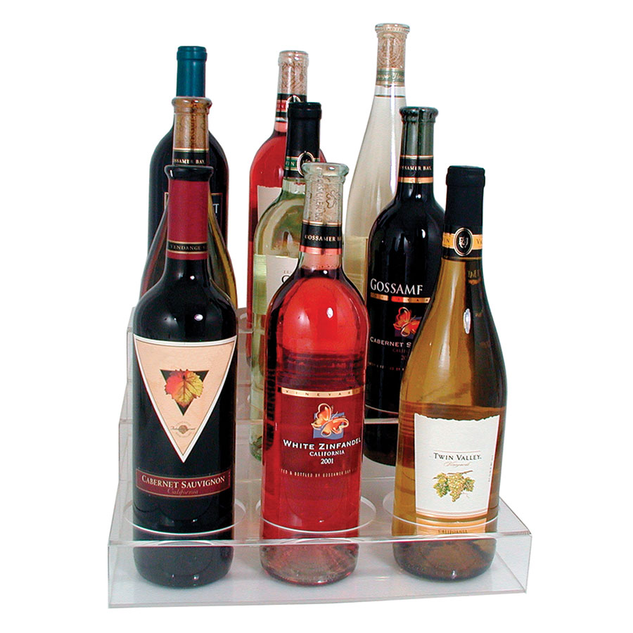 Update ABO-3X3 3-Tier Wine Bottle Display - (9)Bottle, Acrylic