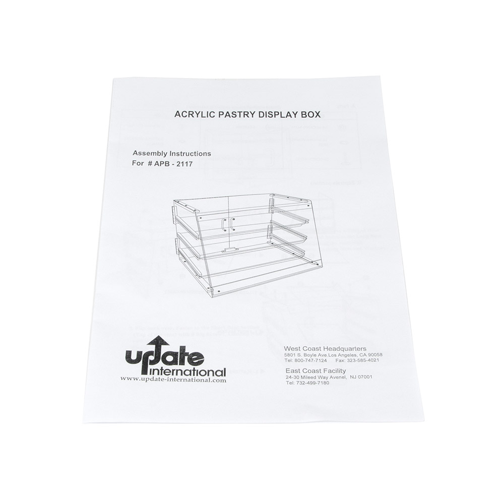 """Update APB-2117 Pastry Display - Rear Doors, (3)Trays, 21x17-1/4x16-1/2"""" Clear Acrylic"""