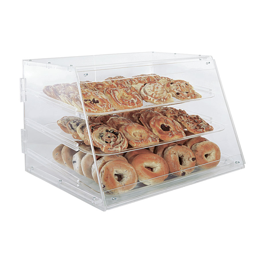 "Update International APB-2117 Pastry Display - Rear Doors, (3)Trays, 21x17-1/4x16-1/2"" Clear Acrylic"