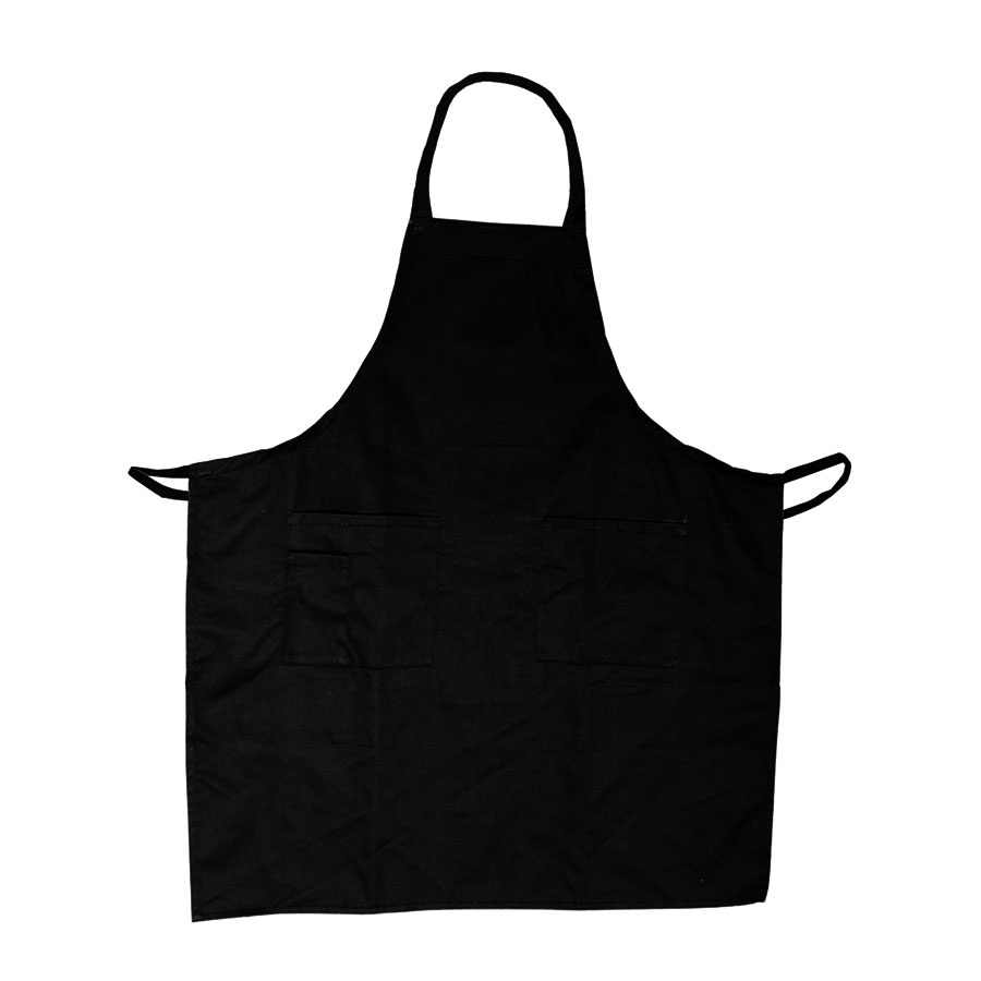 "Update International BAP-BK Bib Apron - (3)Pocket, 33x28-1/2"" Poly/Cotton, Black"