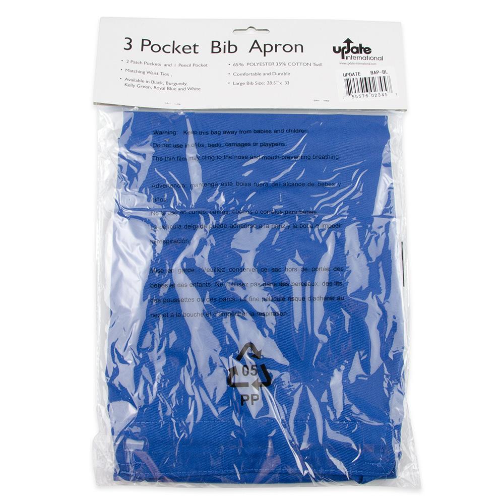 """Update BAP-BL Bib Apron - (3)Pocket, 33x28-1/2"""" Poly/Cotton, Blue"""