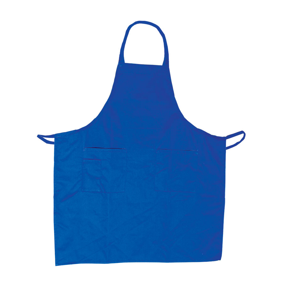 "Update International BAP-BL Bib Apron - (3)Pocket, 33x28-1/2"" Poly/Cotton, Blue"