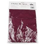 """Update BAP-BU Bib Apron - (3)Pocket, 33x28-1/2"""" Poly/Cotton, Burgundy"""