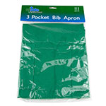 "Update International BAP-GR Bib Apron - (3)Pocket, 33x28-1/2"" Poly/Cotton, Green"