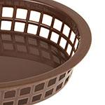 """Update BB107B Oval Fast Food Basket - 10-1/2x7x1-1/2"""" Plastic, Brown"""