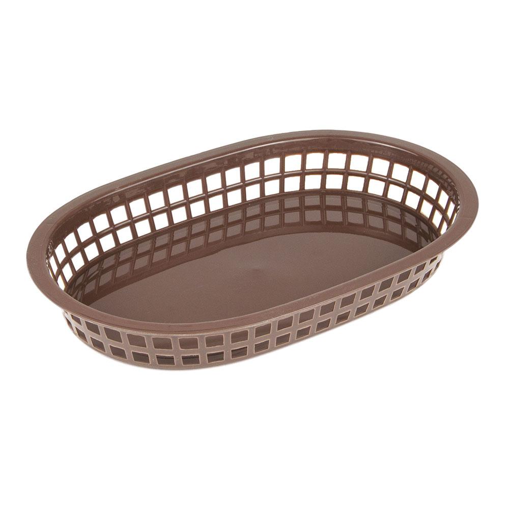 """Update International BB107B Oval Fast Food Basket - 10-1/2x7x1-1/2"""" Plastic, Brown"""