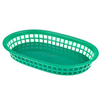 "Update BB107G Oval Fast Food Basket - 10-1/2x7x1-1/2"" Plastic, Green"