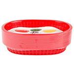 "Update BB107R Oval Fast Food Basket - 10-1/2x7x1-1/2"" Plastic, Red"