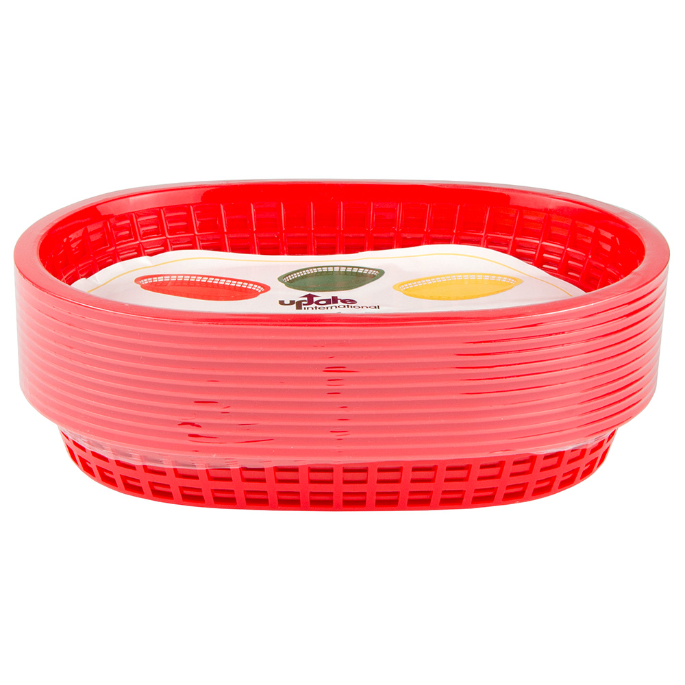 "Update International BB107R Oval Fast Food Basket - 10-1/2x7x1-1/2"" Plastic, Red"