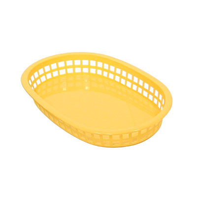 "Update BB107Y Oval Fast Food Basket - 10-1/2x7x1-1/2"" Plastic, Yellow"