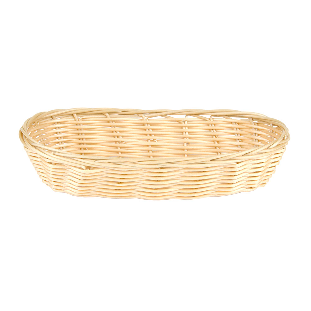 "Update International BB-94 Oblong Cracker Basket - 9x3-3/4x2"" Polypropylene, Natural"