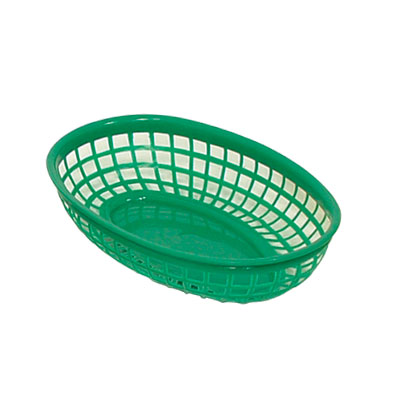 "Update International BB96G Oval Fast Food Basket - 9-1/2x7"" Plastic, Green"