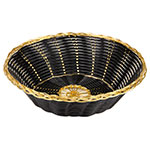 "Update BBV-8R 8"" Round Bread Basket - Black/Gold"