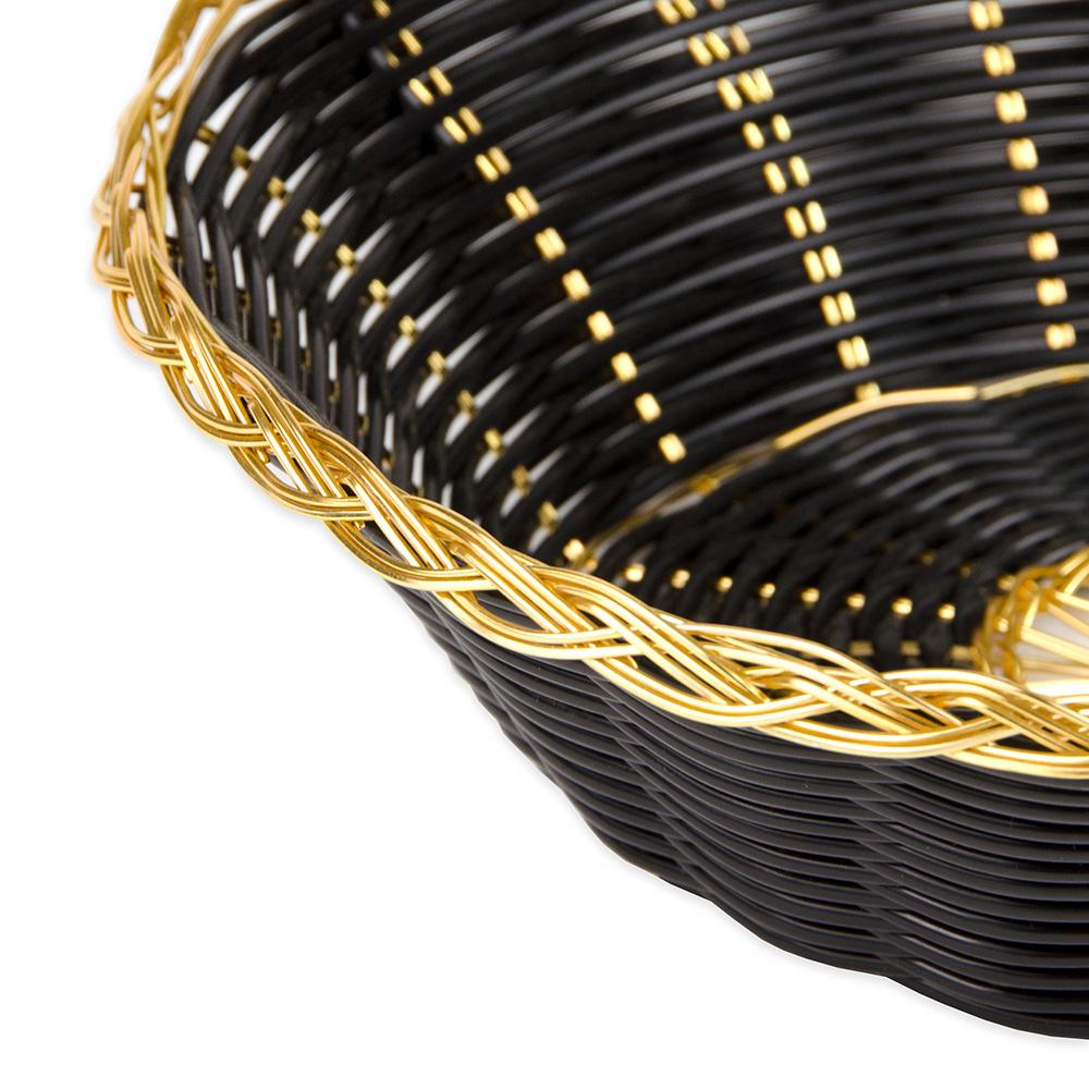 """Update BBV-8R 8"""" Round Bread Basket - Black/Gold"""