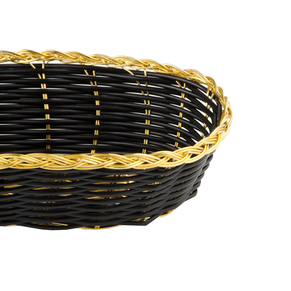 "Update BBV-94 Oval Bread Basket - 8-1/2x4-1/2"" Black/Gold"