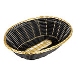 "Update BBV-97 Oval Bread Basket - 9x7"" Black/Gold"
