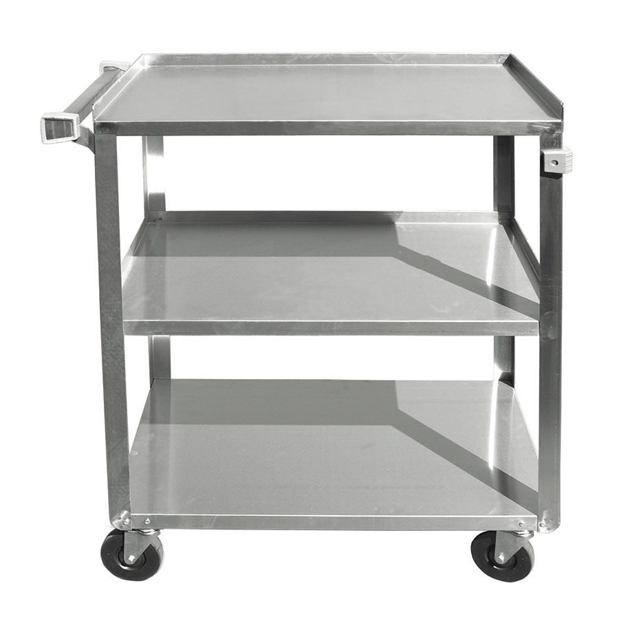 "Update International BC-2415SS 3-Tier Bus Cart - 300-lb Capacity, 27x16-1/4x32-1/8"" Stainless"