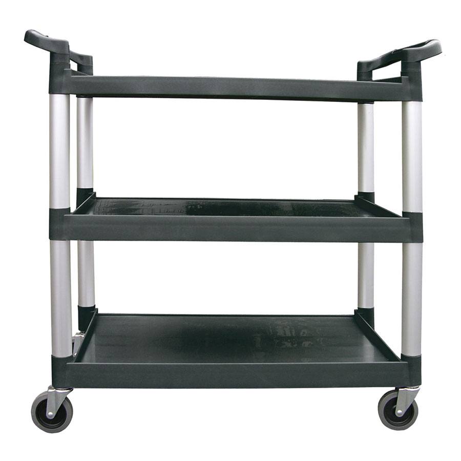 "Update BC-2416BZ 33.375""L Polymer Bus Cart w/ (3) Levels, Shelves, Black"