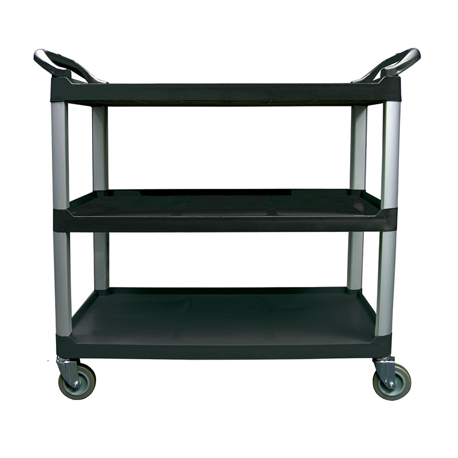 "Update BC-3520BZ 40""L Polymer Bus Cart w/ (3) Levels, Shelves, Black"