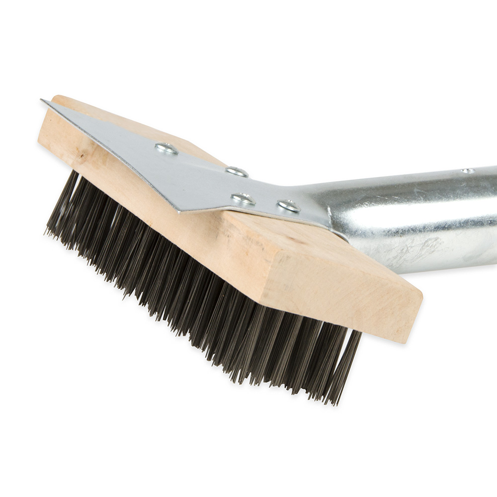 """Update BRW-27HD 24"""" Grill Brush with Scraper - Stainless/Wood"""