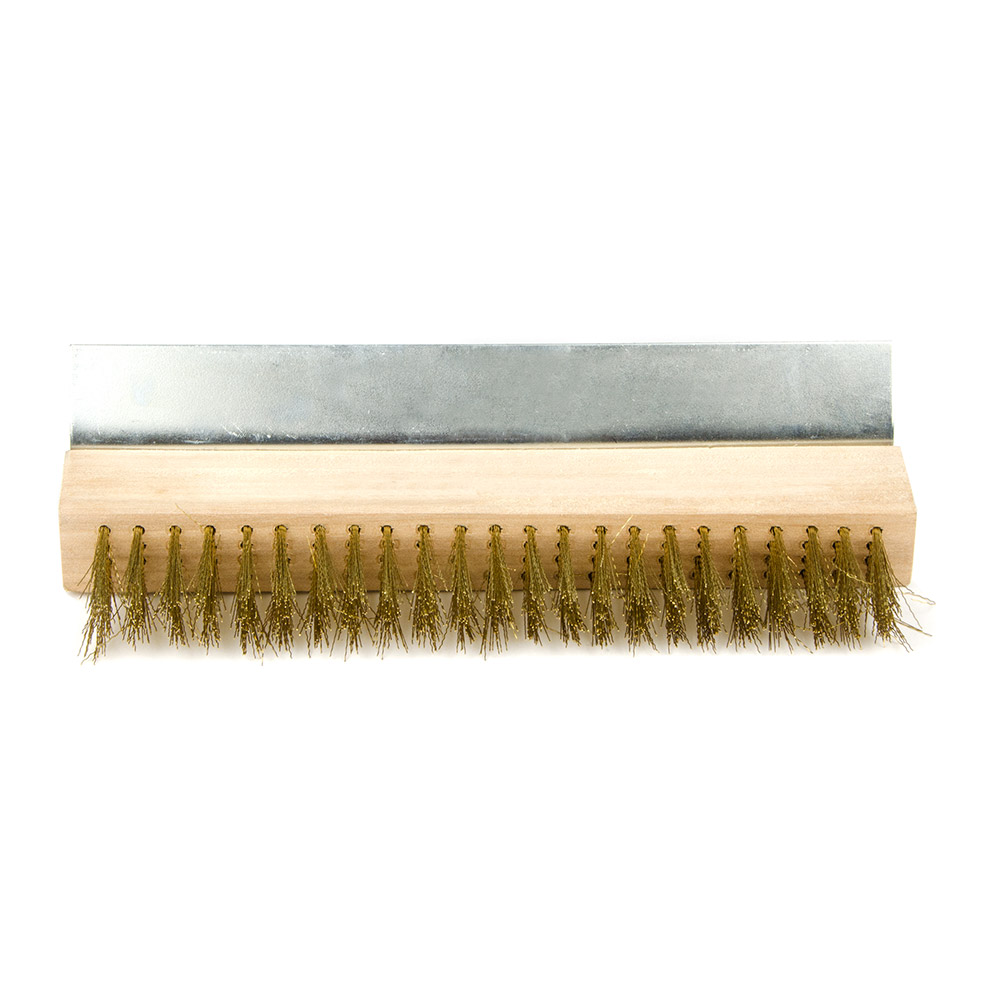 "Update BRW-38PO 24"" Pizza Oven Brush with Scraper - Brass/Wood"
