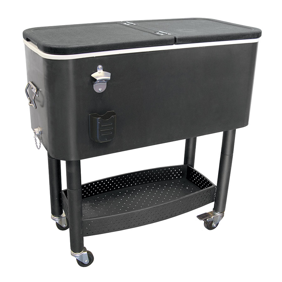 Update CC-65B 65-qt Cooler Cart w/ Bottle Opener & Cap Catcher, Black