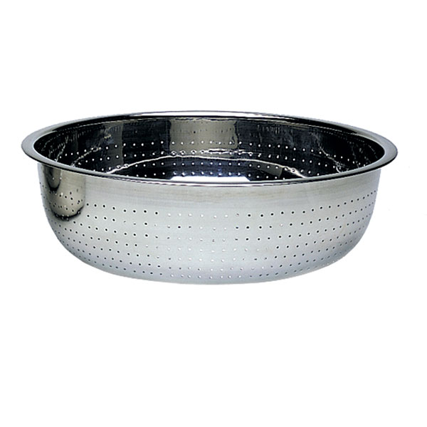 "Update CCOL-15L 15"" Chinese Style Colander - 4.5mm Holes, Stainless"