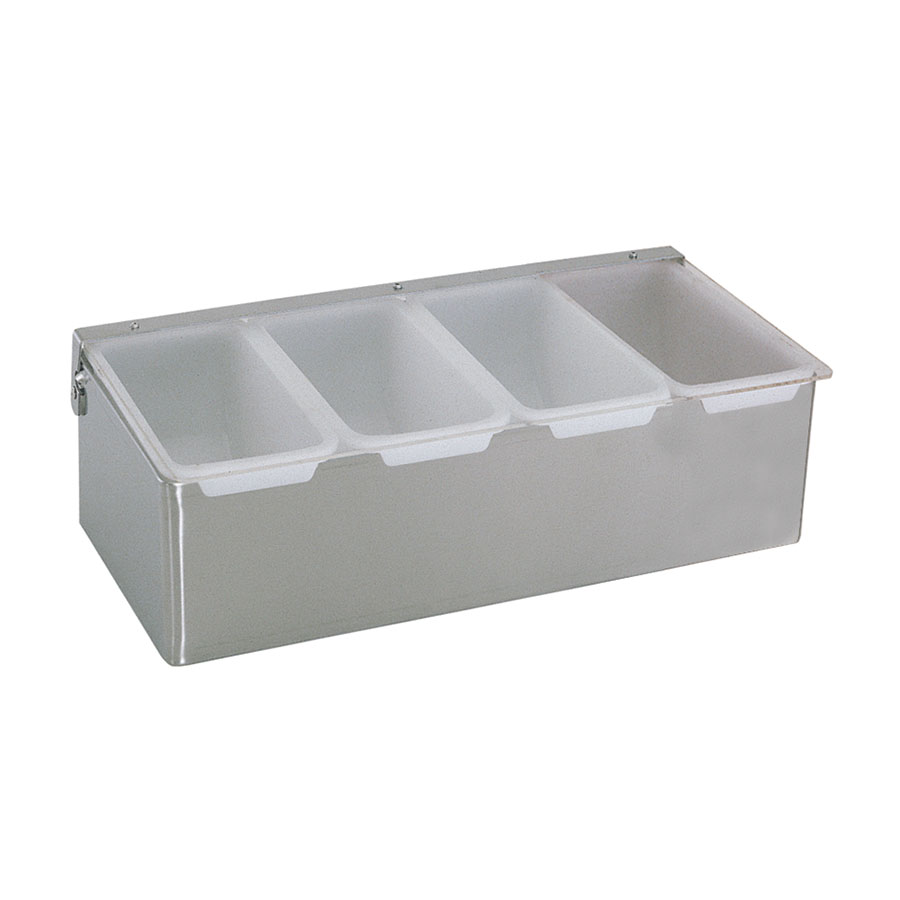 "Update International CD-4 Condiment Dispenser - (4)Compartments, 12x6x3-1/2"" Stainless"