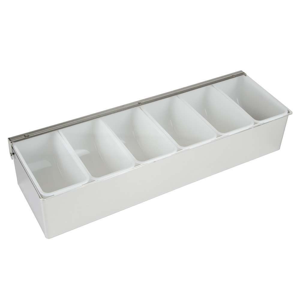 "Update CD-6 Condiment Dispenser - (6)Compartments, 18x6x3-1/2"" Stainless"