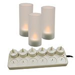 "Update CDL-12S 4"" LED Candle Set - Recharging Station, Globes, (12)Candles"