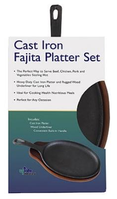 "Update CIZPH-15/SET 15"" Oval Steak Platter with Handle - Cast Iron"