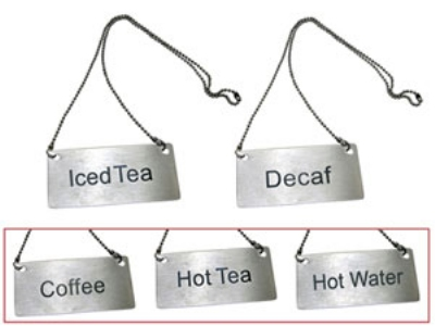 "Update CS-ITE Hanging ""Iced Tea"" Sign w/ 24"" Chain - 1.75"" x 3.5"", Stainless"