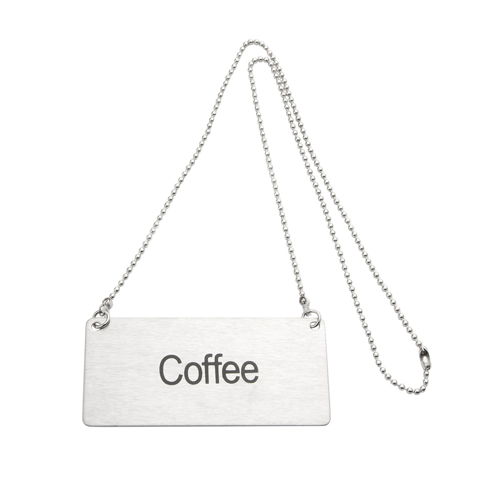 "Update CS-CFE Hanging ""Coffee"" Sign w/ 24"" Chain - 1.75"" x 3.5"", Stainless"